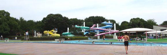 昭和記念公園のレインボープールの流水プールとウォータースライダー